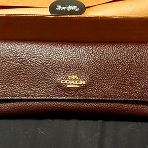 Coach ox blood soft trifold wallet